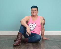 Alex Hensley wearing a they/them tank top