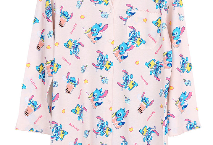 Lilo&Stitch Stitch Bubble Tea_Long Sleeve Dress