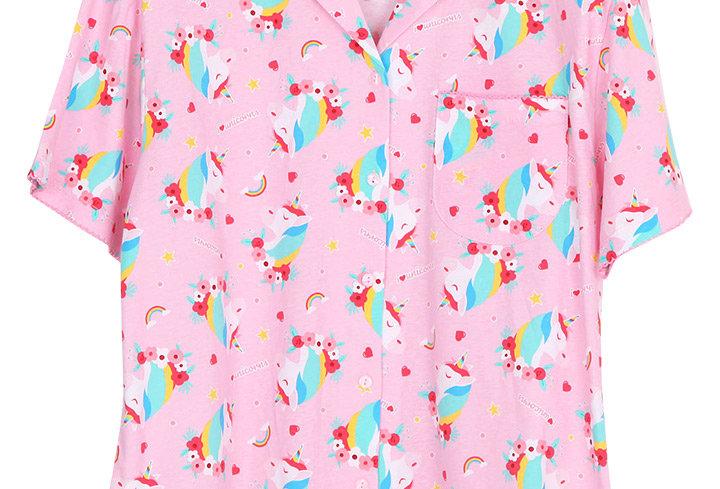Emoji unicorn rainbow _ Short Shirt With Long Pants