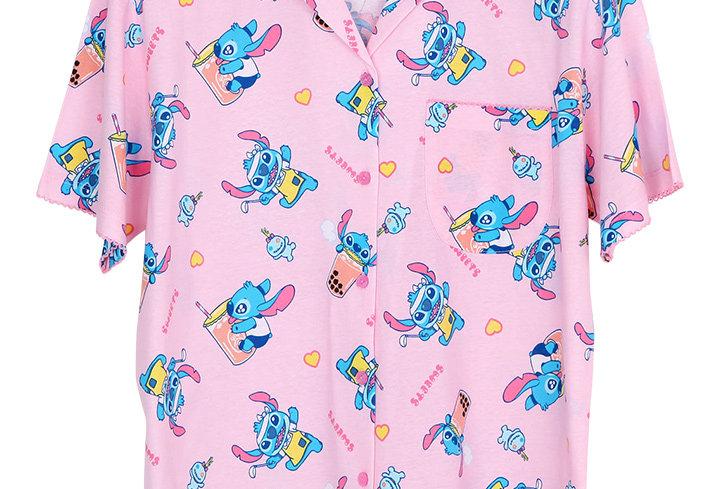 Lilo&Stitch Stitch Bubble Tea_Short Shirt With Short Pants