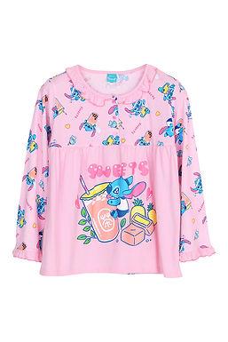 Lilo&Stitch Stitch Bubble Tea_Long Shirt With Long Pants