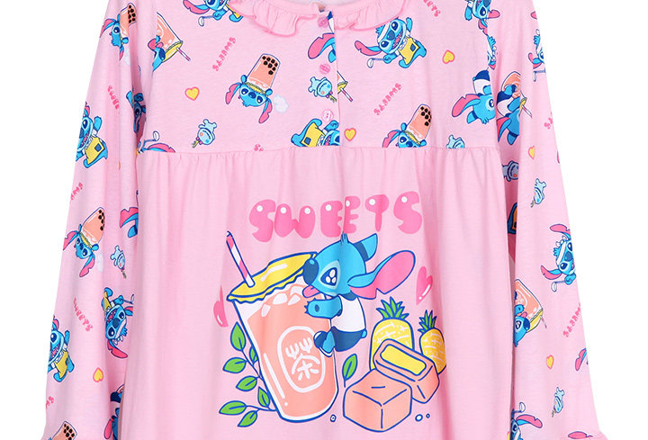 Lilo&Stitch Stitch Bubble Tea_Long Shirt With Long Pants