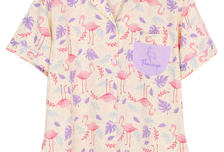 Hello Summer Hello Flamingo Collection _ Short Shirt With Short Pants