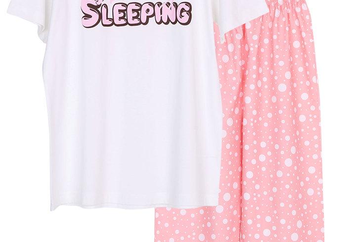Josilins Bunny Sleeping_T-Shirt With Long Pants (Two Tone)