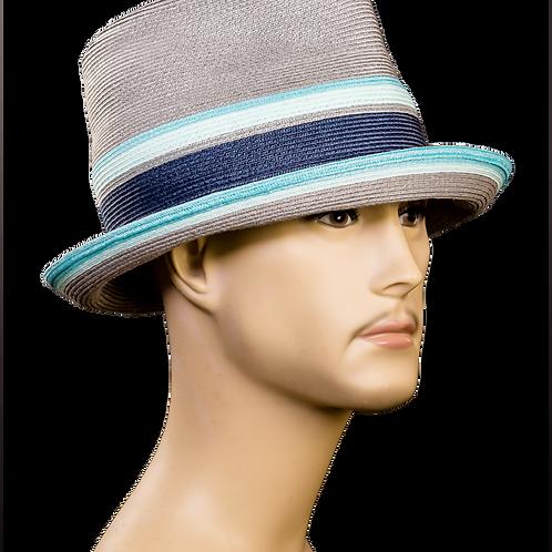 Grey Blue Block Fedora