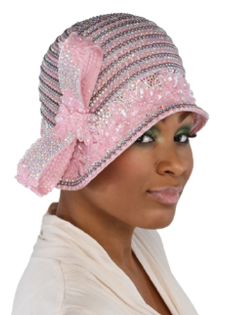 Pink Beaded Cloche w/ Side Bow