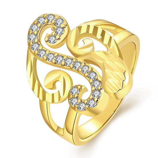 18K Gold Plated Huguette Ring made with Swarovski Crystals