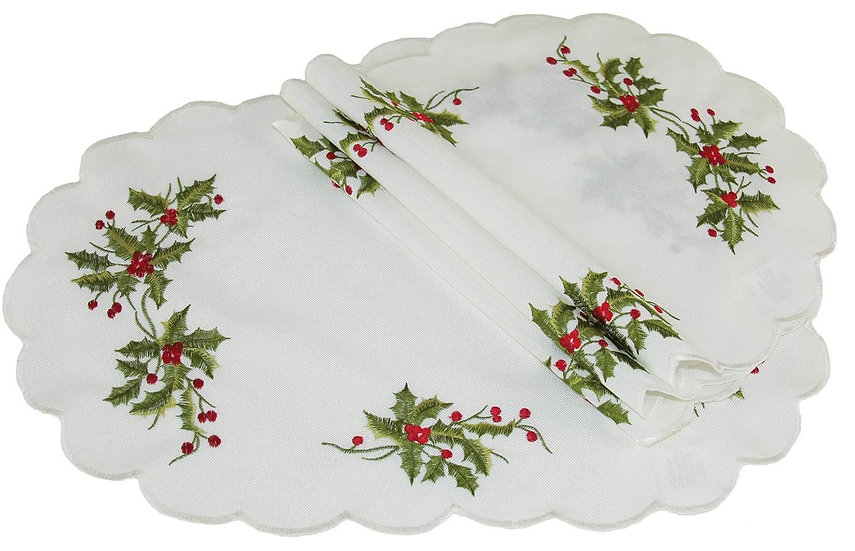 XD14790 Mistletoe Placemats,12''x18'', Set of 4