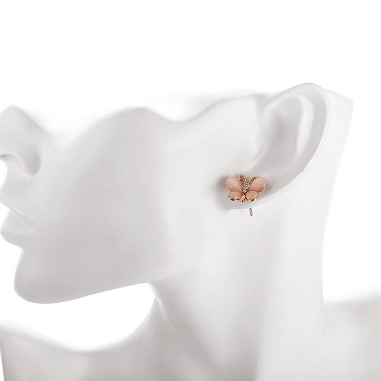 Butterfly Stud Earring in 18K Rose Gold Plated with Swarovski Crystals