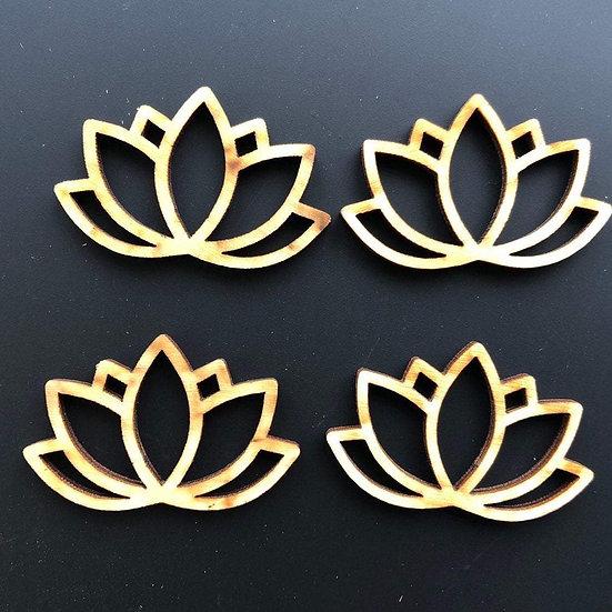Lotus Flower Wooden Beads