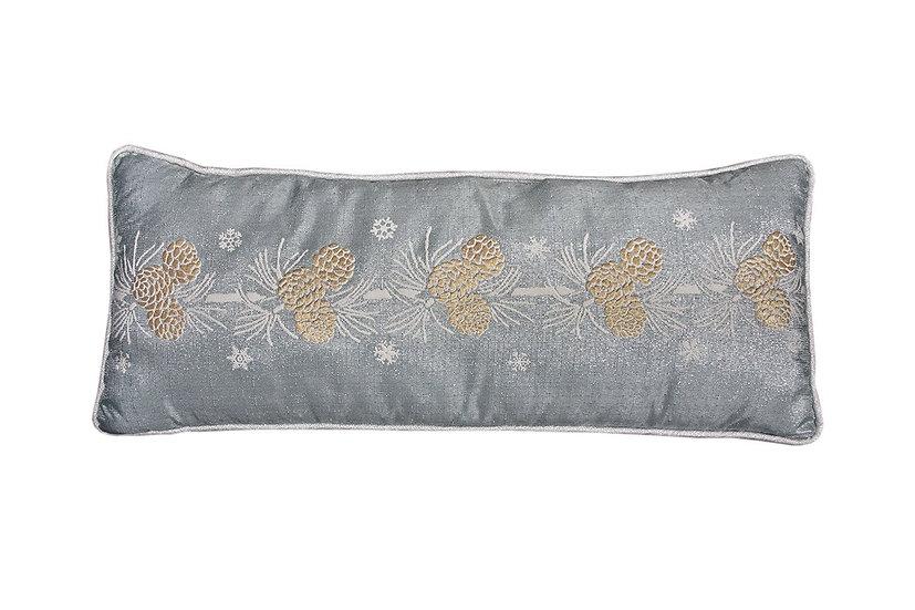 "ML17117 Winter Pine Cone Pillow, 10""x24"""