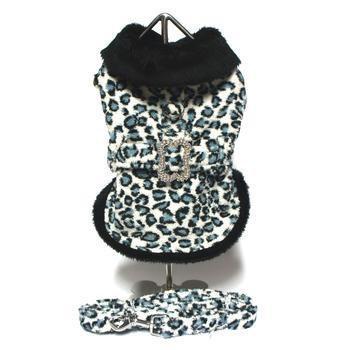 Blue Leopard Faux Fur Pet Coat Harness with Rhinestone Bone Buckle and