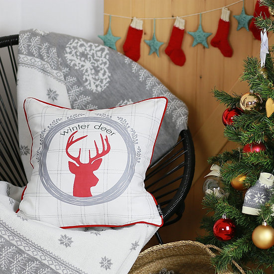 "Christmas Deer Square18"" Throw Pillow Cover"