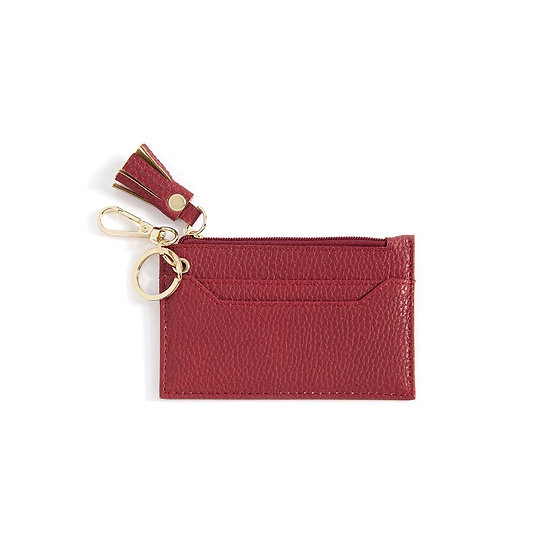 CECE CARD CASE WITH KEY CHAIN,RED