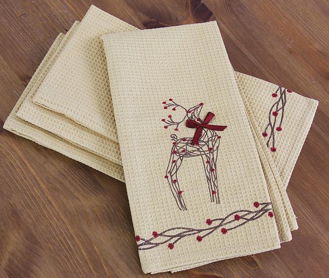 """XD15814 Rustic Reindeer Tea Towels,16""""x22"""", Set of 4"""