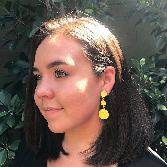 Coin Linear Drop Earring