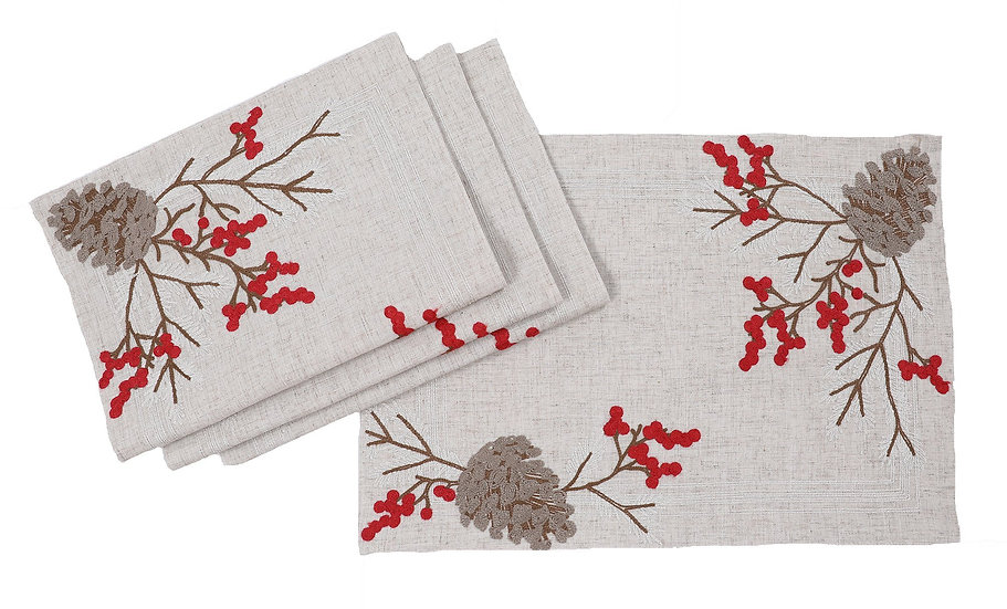 XD19811-Christmas Pine Cone Crewel Embroidered Placemats 14 by