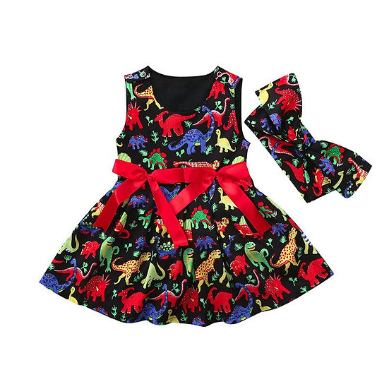 Toddler Baby Girls Dress Cartoon Dinosaur Print
