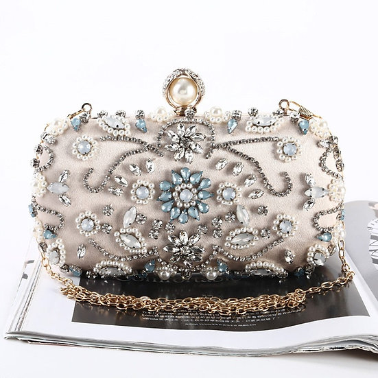 Beige Black Evening Clutch Bag Women Bags Wedding Shiny Handbags