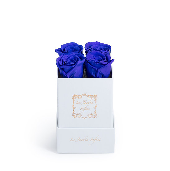 Royal Blue Preserved Roses - Small Square White Box