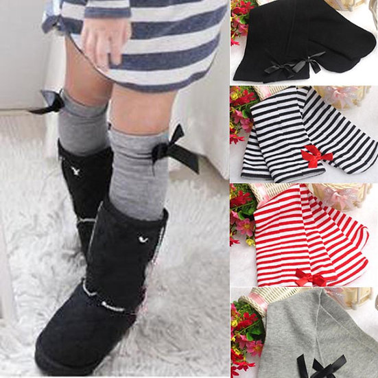 Baby Girls Leg High Barrel Cotton Socks In Bows