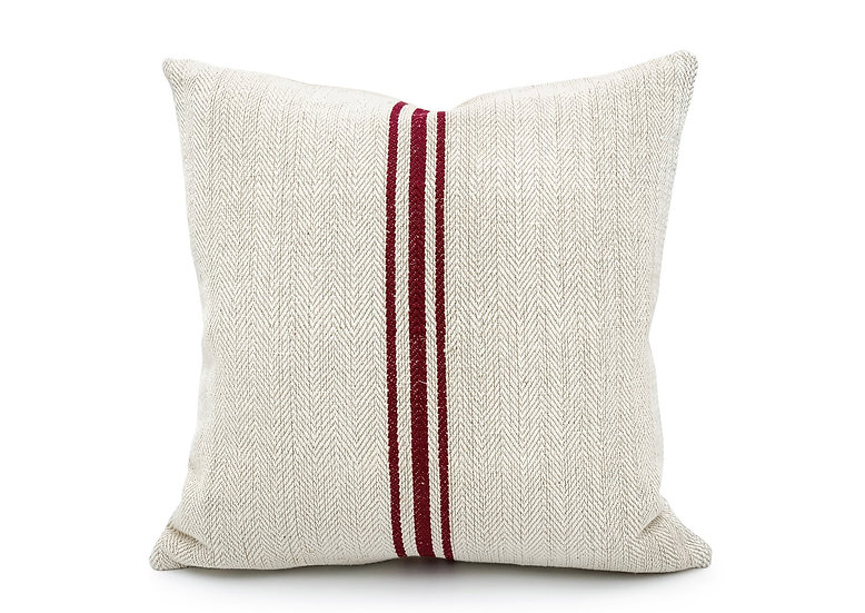 Vintage grain sack Three Burgundy red Stripes Pillow Cover
