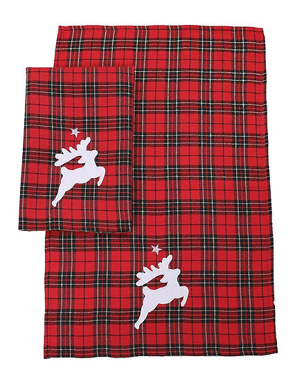XD19881-Applique Tartan Santa Sleigh With Reindeers Christmas