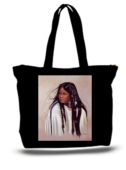 Large  Tote Grocery & Stuff Bag Native American Indian Girl