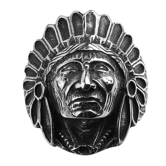 316L Stainless Steel Old Chief Men's Ring