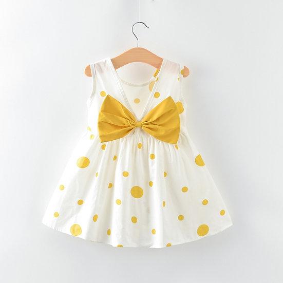 Cute Baby Girl Dress Dot Print Bow Casual