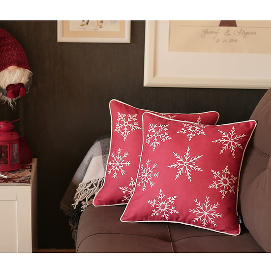 """Snowflakes Red Square 18"""" Throw Pillow Cover (Set of 2)"""