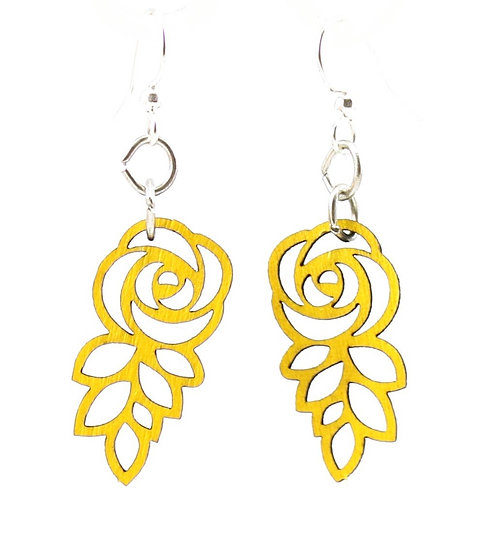 Leafed Blossom Rose Earrings #175