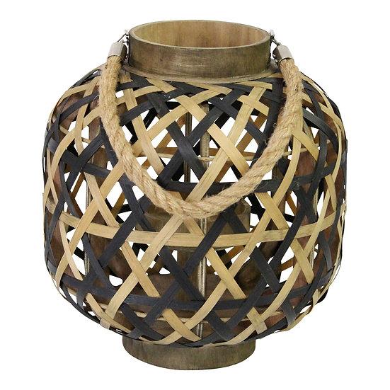 "11"" X 11"" X 11.75"" Black Brown 8 Bamboo 1 Wood Woven Lantern"