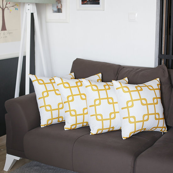 "Geometric Yellow Squares Square 18"" Throw Pillow Cover (Set of 4)"