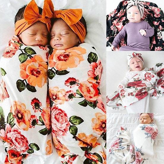 Newborn Infant Baby Blanket Floral Swaddle Turban