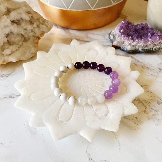 Amethyst, Cape Amethyst, Moonstone & White Howlite Bracelet