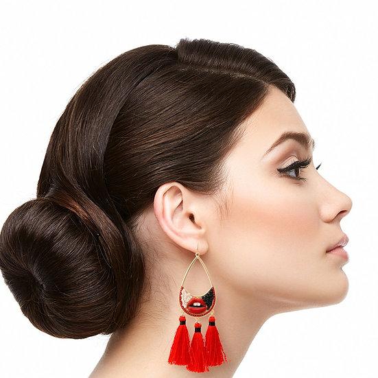 Red Lips Teardrop Earrings