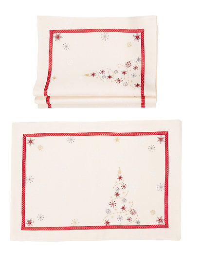 XD18908 Festive Christmas Tree 14''x20''Placemats, Set of 4