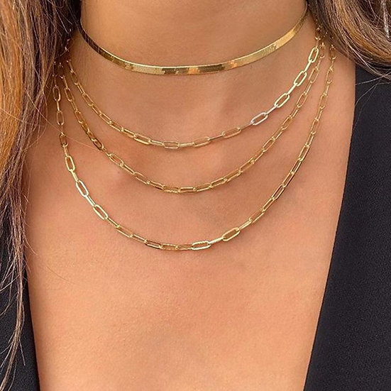 4 Piece Chain Link Set Necklace 18K Gold Plated Necklace in 18K Gold