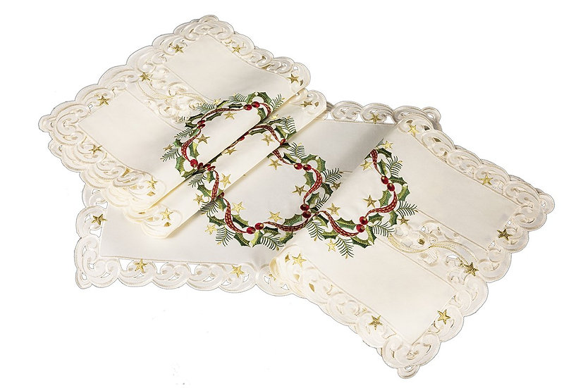 "XD17103 Ribbon Wreath Placemats,13""x19"", Set of 4"