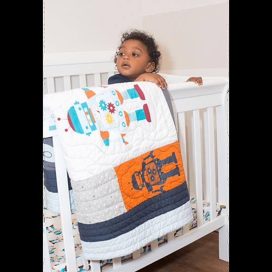 Robot Space 4Pc Crib + Toddler Quilt Set