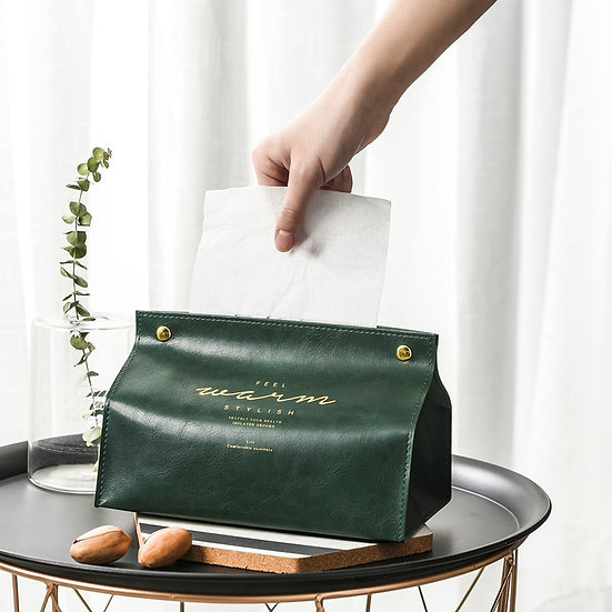Leather Tissue Box Case