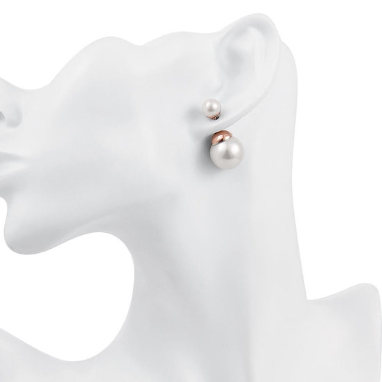 Double Pearl Stud Earring in 18K Rose Gold Plated