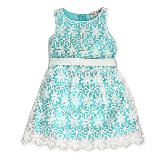 Girl Story - Aqua Blue Sleeveless Floral Design with Back Bow-tie