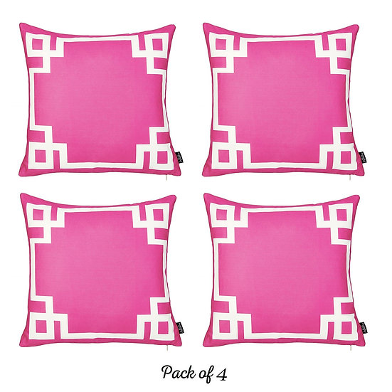 """Geometric Pink&White Square 18"""" Throw Pillow Cover (Set of 4)"""