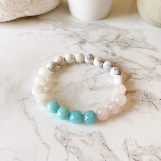 Amazonite, Moonstone, Rose Quartz & White Howlite Bracelet
