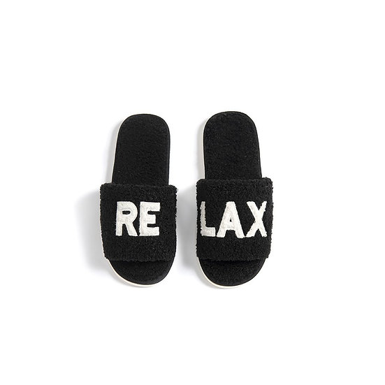"""ASSORTED SET OF 2 SIZES """"RELAX"""" SLIPPERS (S/M,L/XL),BLACK"""