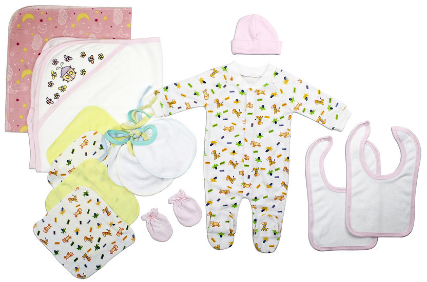Newborn Baby Girls 14 Pc Layette Baby Shower Gift