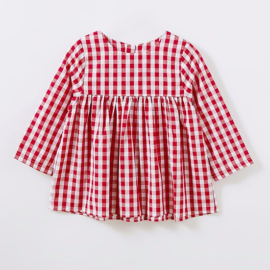 New Baby girl's checked long sleeve dress