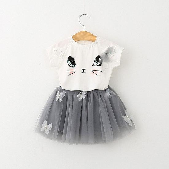 Cat Pattern Shirt and Skirt Duo